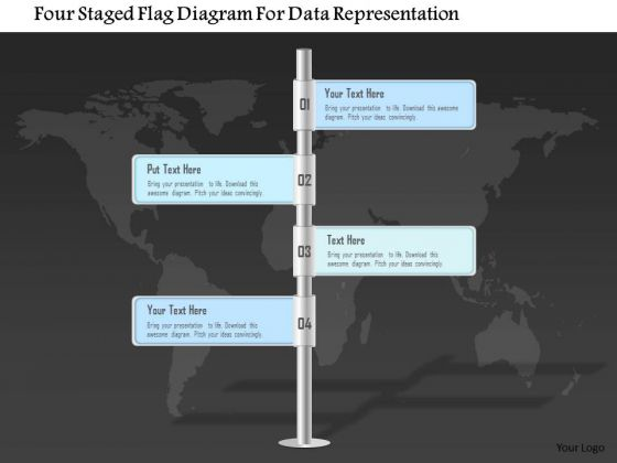 Business Diagram Four Staged Flag Diagram For Data Representation PowerPoint Template