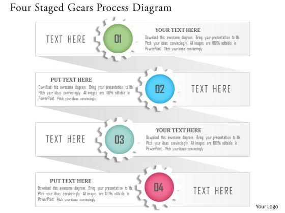 Business Diagram Four Staged Gears Process Diagram Presentation Template