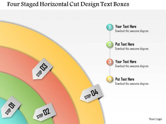 Business Diagram Four Staged Horizontal Cut Design Text Boxes Presentation Template