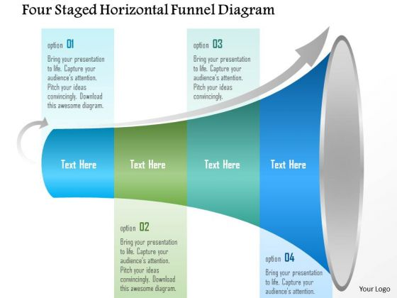 Business Diagram Four Staged Horizontal Funnel Diagram Presentation Template
