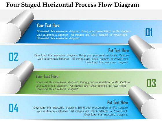 Business Diagram Four Staged Horizontal Process Flow Diagram Presentation Template