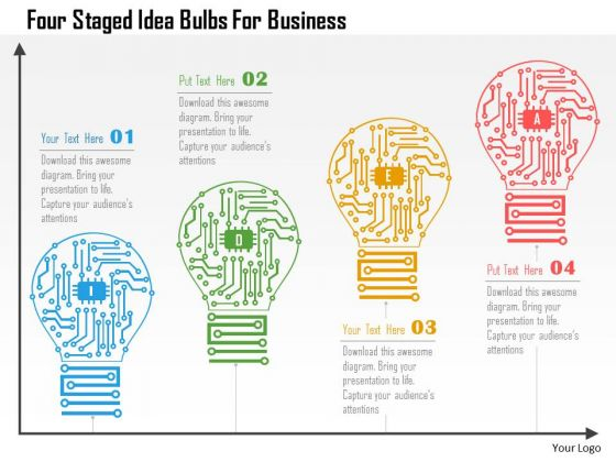 Business Diagram Four Staged Idea Bulbs For Business Presentation Template