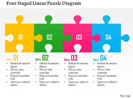 Business Diagram Four Staged Linear Puzzle Diagram Presentation Template