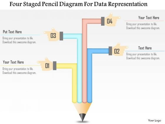 Business Diagram Four Staged Pencil Diagram For Data Representation Presentation Template