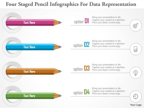 Business Diagram Four Staged Pencil Infographics For Data Representation PowerPoint Template