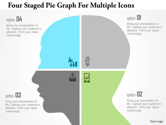 Business Diagram Four Staged Pie Graph For Multiple Icons Presentation Template