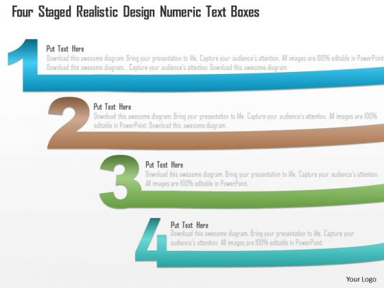 Business Diagram Four Staged Realistic Design Numeric Text Boxes PowerPoint Template