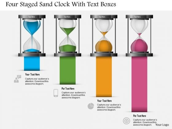Business Diagram Four Staged Sand Clock With Text Boxes Presentation Template