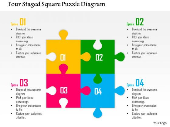 Business Diagram Four Staged Square Puzzle Diagram Presentation Template