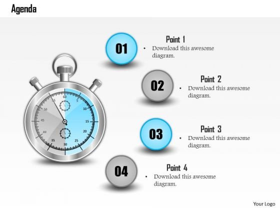 Business Diagram Four Staged Time Based Agenda Diagram Presentation Template