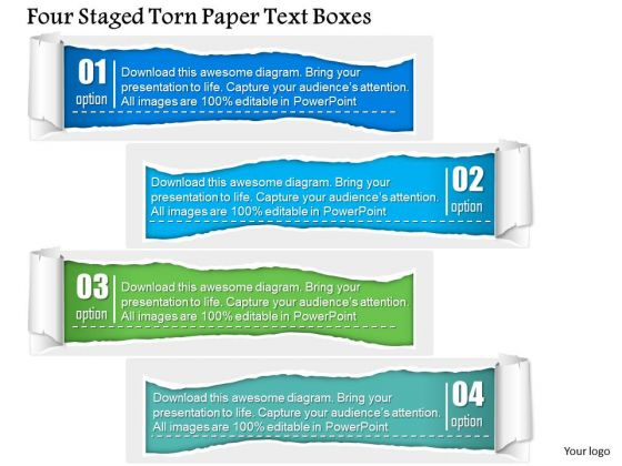 Business Diagram Four Staged Torn Paper Text Boxes PowerPoint Template