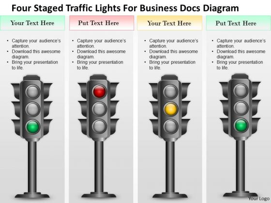 Business Diagram Four Staged Traffic Lights For Business Docs Diagram Presentation Template