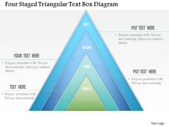 Business Diagram Four Staged Triangular Text Box Presentation Template