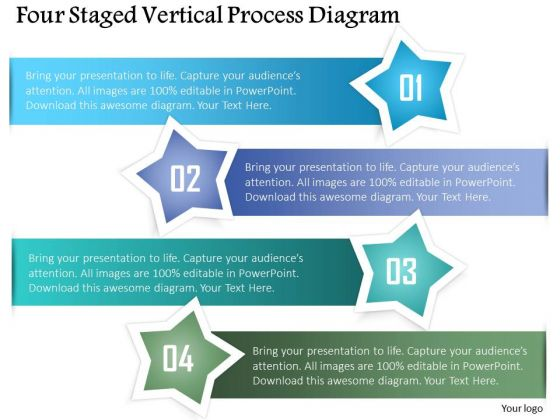 Business Diagram Four Staged Vertical Process Diagram Presentation Template