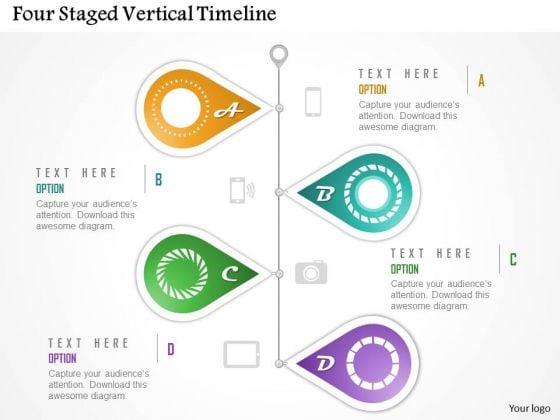 Business Diagram Four Staged Vertical Timeline Presentation Template