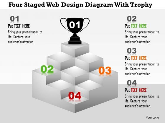 Business Diagram Four Staged Web Design Diagram With Trophy Presentation Template