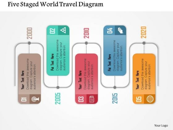 Business Diagram Four Staged World Travel Diagram Presentation Template