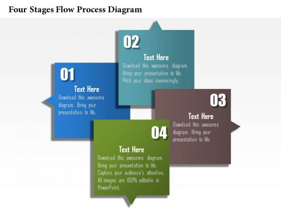 Business Diagram Four Stages Flow Process Diagram Presentation Template