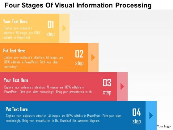 Business Diagram Four Stages Of Visual Information Processing Presentation Template
