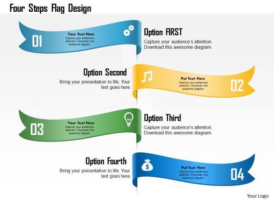 Business Diagram Four Steps Flag Design Presentation Template
