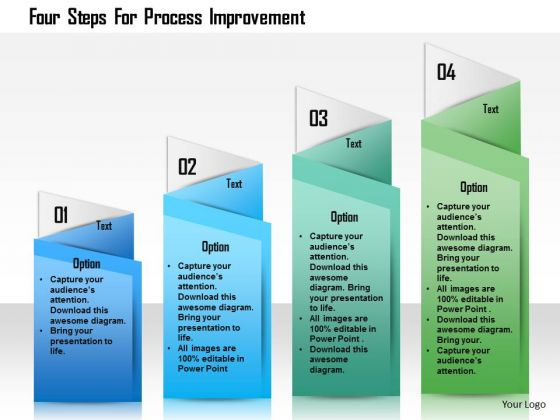 Business Diagram Four Steps For Process Improvement Presentation Template