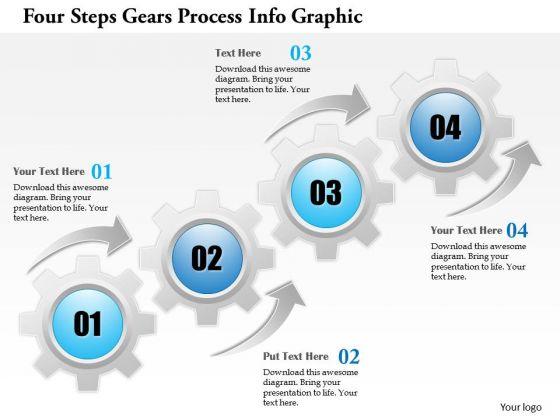 Business Diagram Four Steps Gears Process Info Graphic Presentation Template
