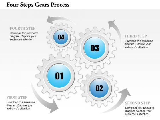 Business Diagram Four Steps Gears Process Presentation Template
