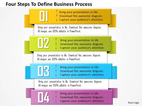 Business Diagram Four Steps To Define Business Process Presentation Template