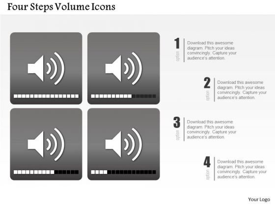 Business Diagram Four Steps Volume Icons Presentation Template