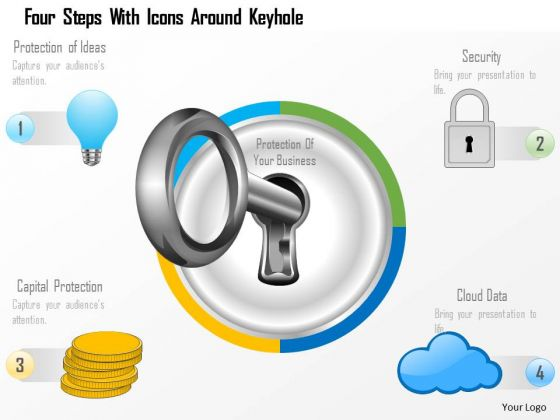 Business Diagram Four Steps With Icons Around Keyhole Presentation Template