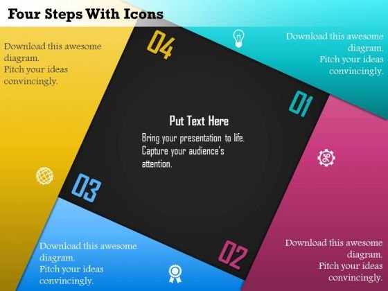 Business Diagram Four Steps With Icons Presentation Template