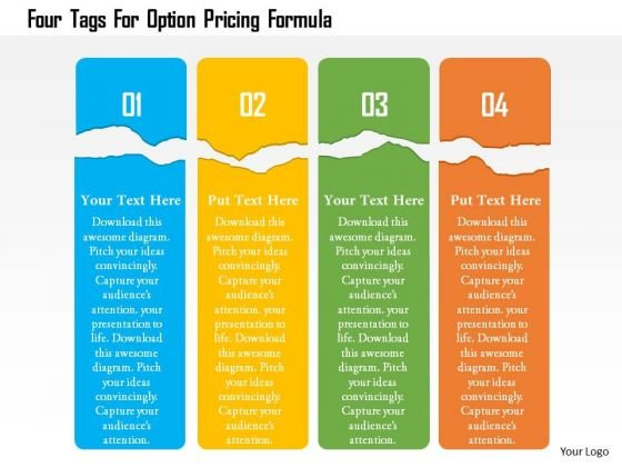 Business Diagram Four Tags For Option Pricing Formula Presentation Template