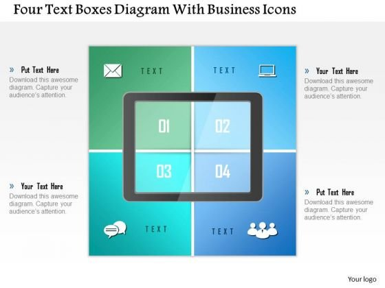 Business Diagram Four Text Boxes Diagram With Business Icons Presentation Template
