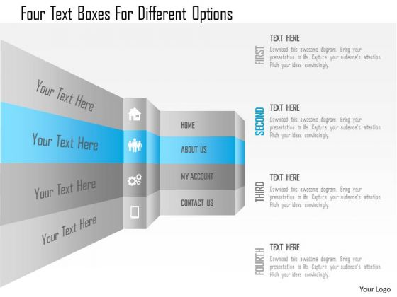 Business Diagram Four Text Boxes For Different Options Presentation Template