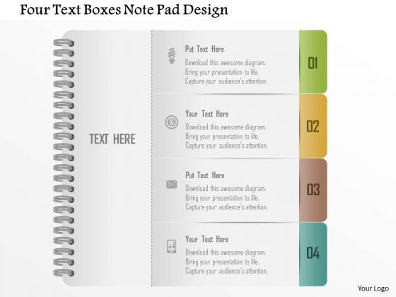 Business Diagram Four Text Boxes Note Pad Design Presentation Template