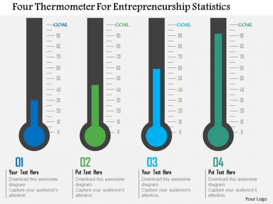 Business Diagram Four Thermometer For Entrepreneurship Statistics Presentation Template