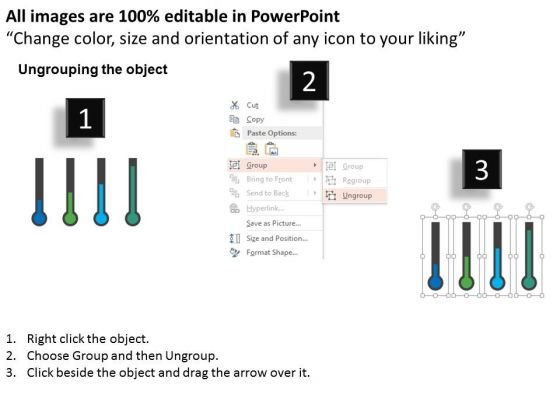 business_diagram_four_thermometer_for_entrepreneurship_statistics_presentation_template_2