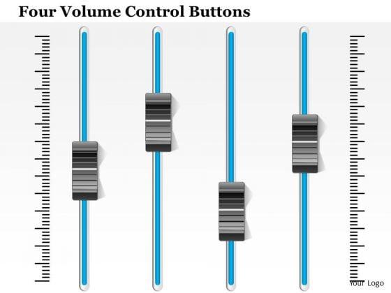 Business Diagram Four Volume Control Buttons Presentation Template