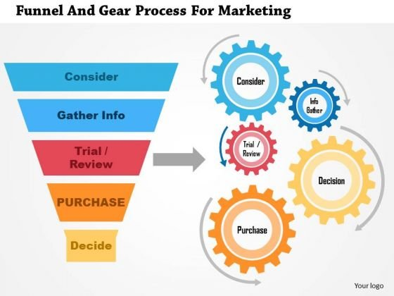 Business Diagram Funnel And Gear Process For Marketing Presentation Template