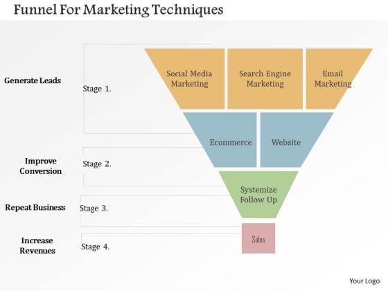 Business Diagram Funnel For Marketing Techniques Presentation Template
