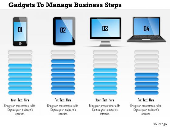 Business Diagram Gadgets To Manage Business Steps Presentation Template