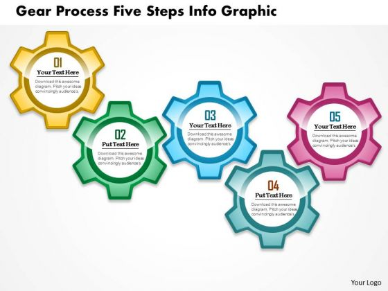 Business Diagram Gear Process Five Steps Info Graphic Presentation Template
