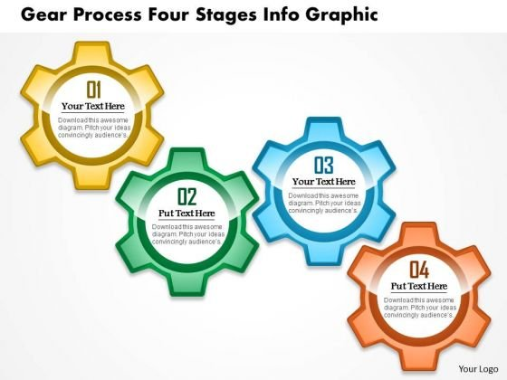 Business Diagram Gear Process Four Stages Info Graphic Presentation Template