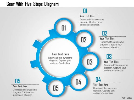 Business Diagram Gear With Five Steps Diagram Presentation Template