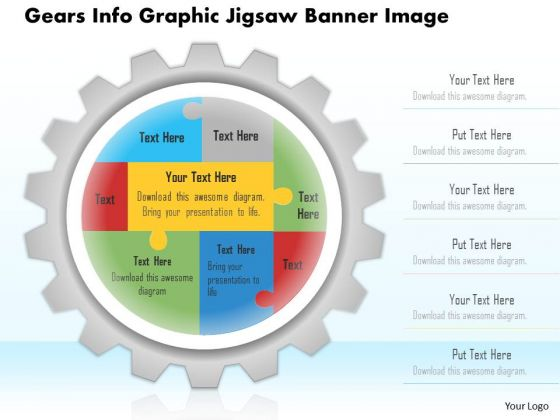 Business Diagram Gears Info Graphic Jigsaw Banner Image Presentation Template