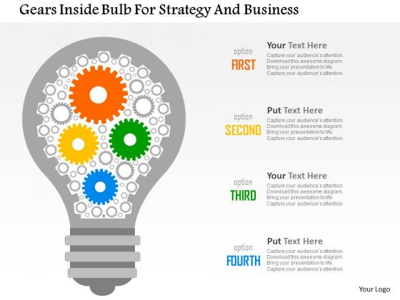 Business Diagram Gears Inside Bulb For Strategy And Business Presentation Template