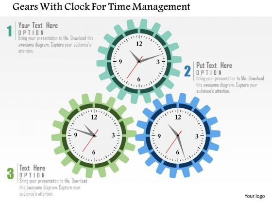 Business Diagram Gears With Clock For Time Management Presentation Template