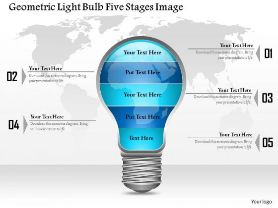 Business Diagram Geometric Light Bulb Five Stages Image Presentation Template