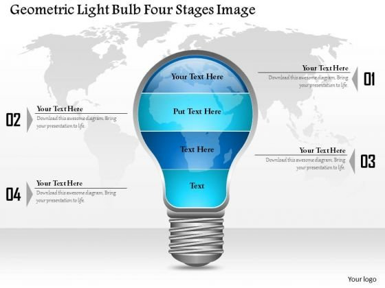 Business Diagram Geometric Light Bulb Four Stages Image Presentation Template