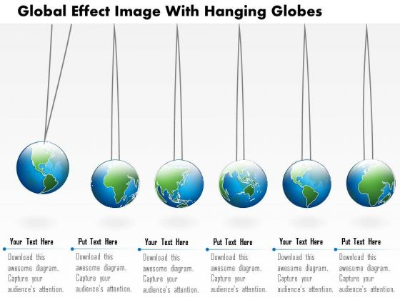 Business Diagram Global Effect Image With Hanging Globes Presentation Template